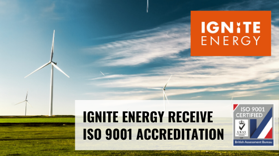 ISO 9001 accreditation for Ignite Energy